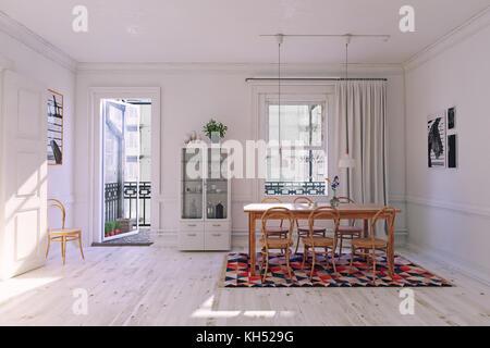 Modern dining room interior rendering, white concept. 3d illustration - Stock Photo