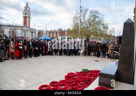 London UK 12 November 2017 People during inaugural Remembrance Day Heroes Parade in Windrush Square. - Stock Photo