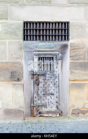 Original outer door of a prison cell formerly within the county gaol in Barrack Street & Original outer door of a prisoners cell of the county gaol Barrack ...