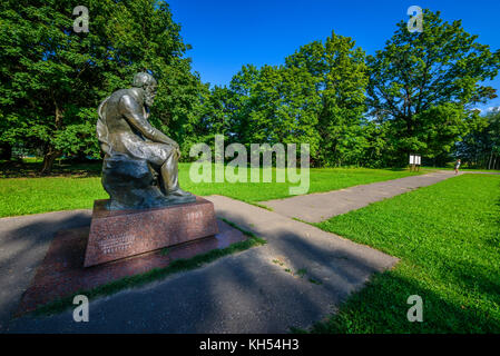 Statue of Dostoevsky in the family house of Dostoevsky in Darovoe, Moscow region. Russia. - Stock Photo