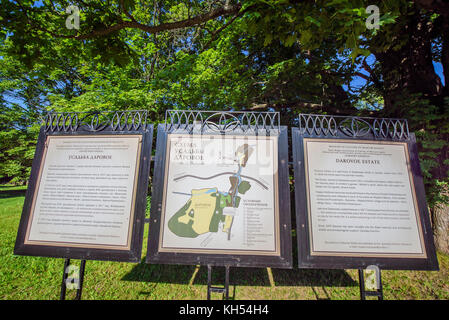 Information pannel in the family house of Dostoevsky in Darovoe, Moscow region. Russia. - Stock Photo