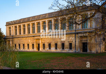 Scenic view of the Wren Library at sunset, Trinity College, Cambridge University; Cambridgeshire, UK. - Stock Photo