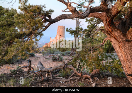 Indian Watchtower at Desert View on the south rim of the Grand Canyon National Park. - Stock Photo