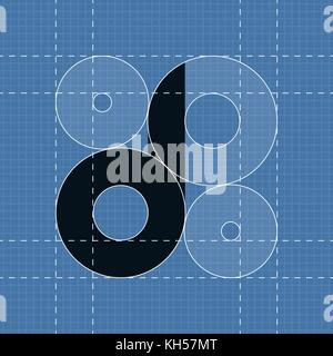 Round engineering font. Symbol D Vector illustration in eps10 - Stock Photo