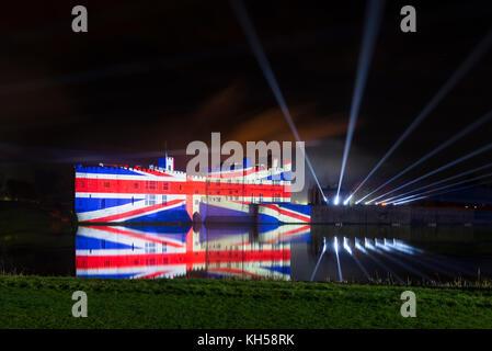 Firework display and light show at Leeds Castle, Kent - Stock Photo