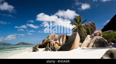 The Seychelles, La Digue, L'Union Estate, Anse Source d'Argent beach, panoramic - Stock Photo
