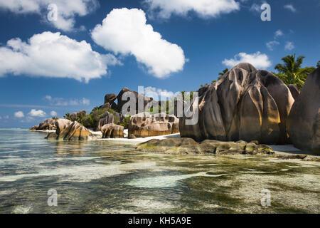 The Seychelles, La Digue, L'Union Estate, rocks at Anse Source d'Argent beach - Stock Photo
