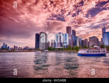Beautiful Chicago Skyline. Cityscape image of Chicago skyline during sunset. - Stock Photo