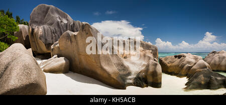 The Seychelles, La Digue, L'Union Estate, rocks at Anse Source d'Argent beach, panoramic - Stock Photo