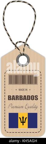 Hang Tag Made In Barbados With Flag Icon Isolated On A White Background. Vector Illustration. - Stock Photo