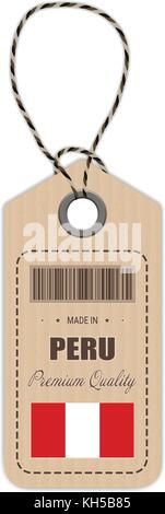 Hang Tag Made In Peru With Flag Icon Isolated On A White Background. Vector Illustration. - Stock Photo