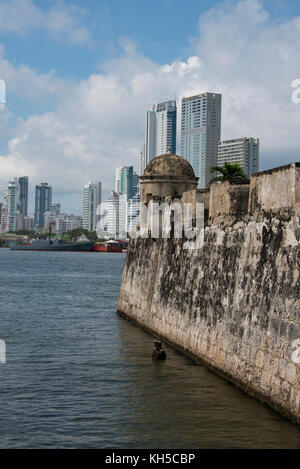 South America, Colombia, Cartagena. Historic walled city center, city walls that surround the old town. - Stock Photo