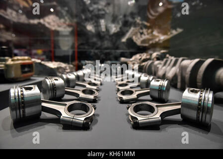 London, UK.  14 November 2017. Pistons and connecting rods for the Ferrari 250 models, 1954-63. Preview of 'Ferrari: - Stock Photo