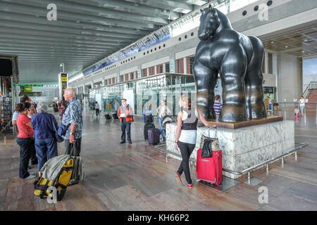 Black horse sculpture at Barcelona Airport El Prat departure hall - Stock Photo