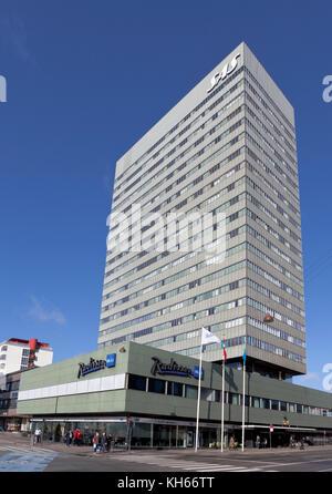The Radisson Blu Royal Hotel, or just the SAS Hotel, at Vesterbrogade in Copenhagen, Denmark. Architect Arne Jacobsen - architecture. Stock Photo