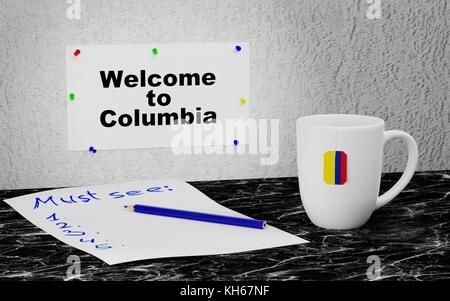 Columbia Flag 3d Columbia Nation Flag 3d Illustration Symbol Stock