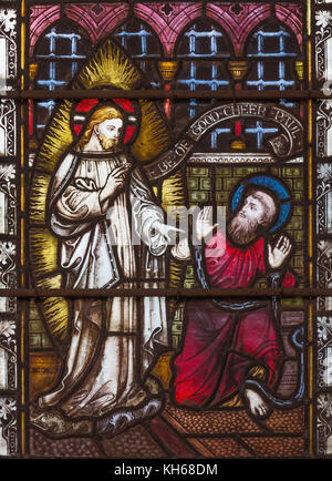 LONDON, GREAT BRITAIN - SEPTEMBER 19, 2017: The apparition of Jesus to St. Paul on Stained glass in St Mary Abbot's - Stock Photo