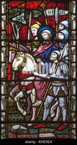 LONDON, GREAT BRITAIN - SEPTEMBER 19, 2017: The aresting of St. Paul on Stained glass in St Mary Abbot's church - Stock Photo