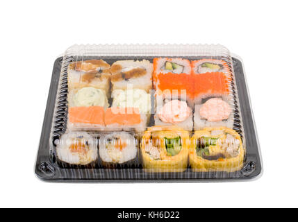 assorti sushi set in open plastic box isolated on white background - Stock Photo