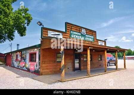 Fanning, Missouri - July 18 2017: Fanning outpost general store on the Route 66 in Missouri, Usa. - Stock Photo