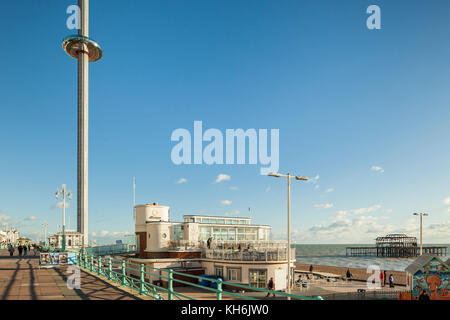 Autumn afternoon on Brighton seafront, East Sussex, England. - Stock Photo