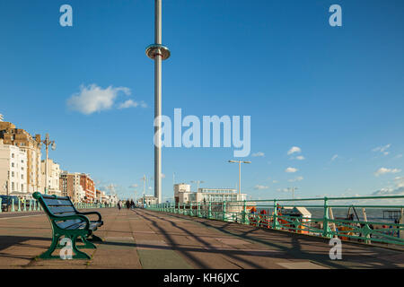 Sunny autumn afternoon on Brighton seafront, East Sussex, England. - Stock Photo