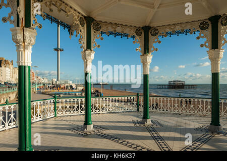 A view from Brighton Bandstand towards West Pier and i360 tower, East Sussex, England. - Stock Photo