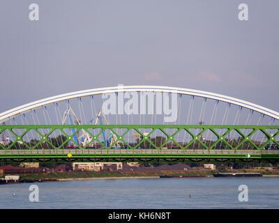 Old bridge stary most and Apollo bridge, Danube river, Bratislava, Bratislavsky kraj, Slovakia, Europe - Stock Photo
