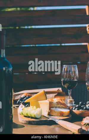 snacks for red wine - Stock Photo