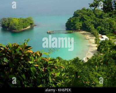 A view from elevatep point over beach in Parque Nacional de Isla Coiba, Panama. - Stock Photo