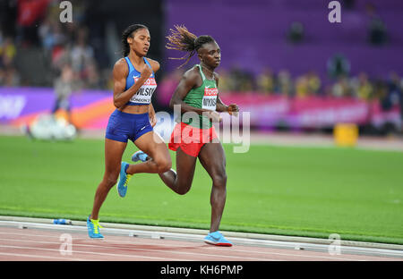 Ajee Wilson (USA) and Francine Niyonsaba (Burundi) - 800m women Bronze Medal - IAAF World Championships - London - Stock Photo