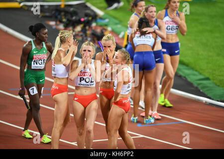 Polish team celebration - 4x400 Metres Relay women - IAAF World Championships - London 2017 - Stock Photo