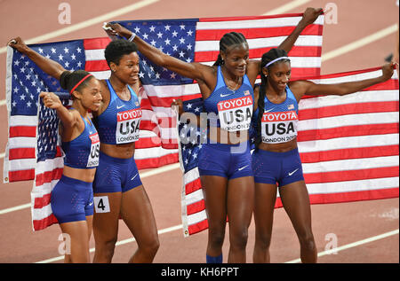 USA Team - 4x400 relays Gold Medal - IAAF World Championships - London 2017 - Stock Photo