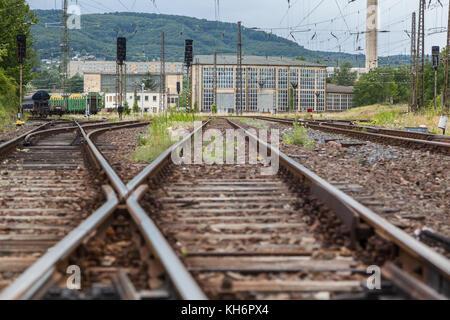 Bahngleise Bahnhof Blankenburg Harz - Stock Photo