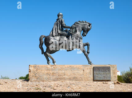 An equestrian statue of Ibn Qasi, the proclaimed political and spiritual leader of the taifa kingdom of Mertola. - Stock Photo