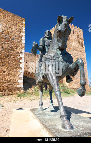 An equestrian statue of Ibn Qasi, the proclaimed political and spiritual leader of the taifa kingdom of Mertola, - Stock Photo