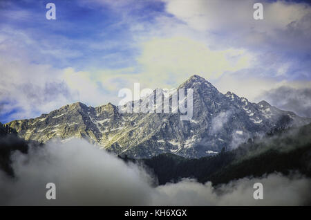 view of Dhaulandhar Range of Himalayas from Mcleodganj in Himachal Pradesh. - Stock Photo
