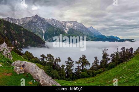 view of Dhaulandhar Range of Himalayas from Mcleodganj in Himachal Pradesh. - Stock Photo