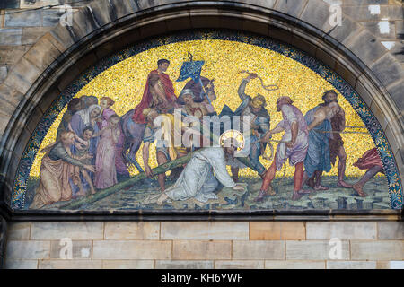 travel to Germany - outdoor wall decoration of Bremen Cathedral ( Bremer Dom, St Petri Dom zu Bremen) in Bremen - Stock Photo