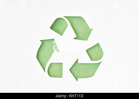 Recyclig Symbol On Recycled Paper Stock Photo 165521900 Alamy