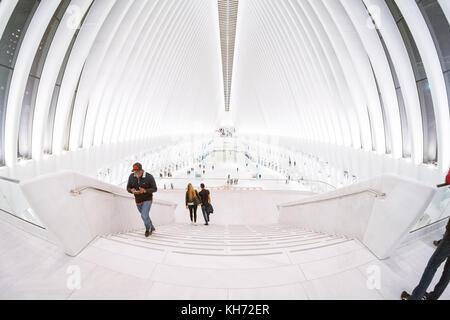 The Oculus transportation hub and shopping mall, Lower Manhattan, New York City, NY,United States of America, USA. - Stock Photo
