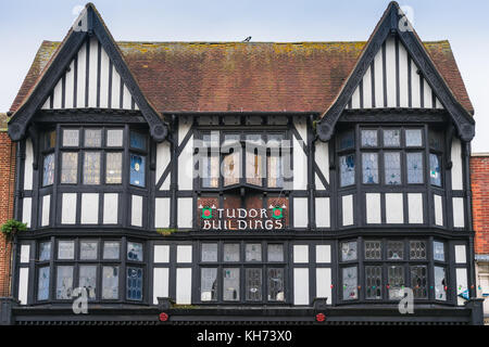 The facade of the Tudor Buildings along Above Bar street - one of Southampton's few historic buildings, Southampton, - Stock Photo