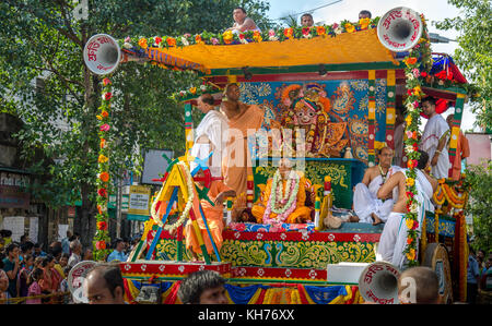 Iskcon ratha yatra festival ceremony procession on the city roads of Kolkata India - Stock Photo