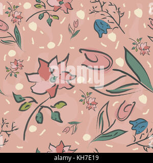 Floral Seamless Pattern. Hand Drawn. Vector Illustration - Stock Photo