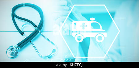 Digital background with emergency sign  against stethoscope on desk - Stock Photo