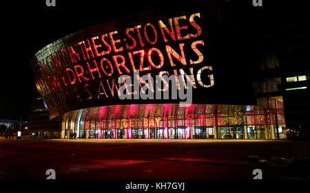 Cardiff, Wales UK. 13th November 2017. The Millennium Centre illuminated advertising the Musical 'Tiger Bay' Opening - Stock Photo