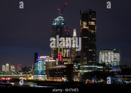 London, UK. 13th Nov, 2017. Views of the The River Thames and London City Skyline seen from Waterloo Bridge at sunset, - Stock Photo