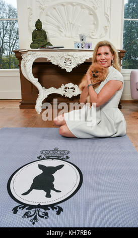 EXKLUSIVE - Maja princess von Hohenzollern seen during a photo shoot for her vegan carpet collection 'Royal Collection' - Stock Photo