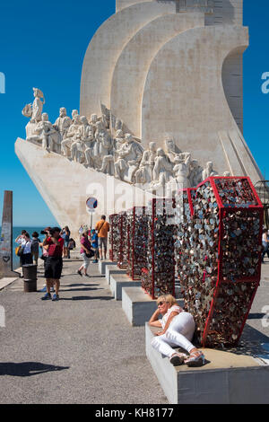 The Padrao dos Descobrimentos, or Monument to the Discoveries, in the Belem district of Lisbon, Portugal. - Stock Photo