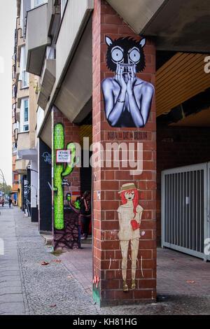 Berlin Schöneberg.Streeet art on apartment building. URBAN NATION art project encourages street artists to decorate - Stock Photo